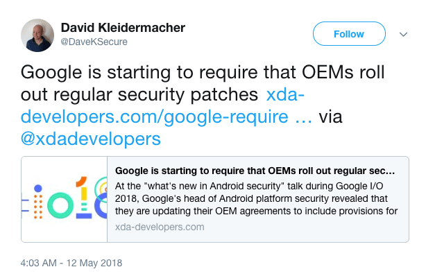 Tweet confirming Android security patches obligated
