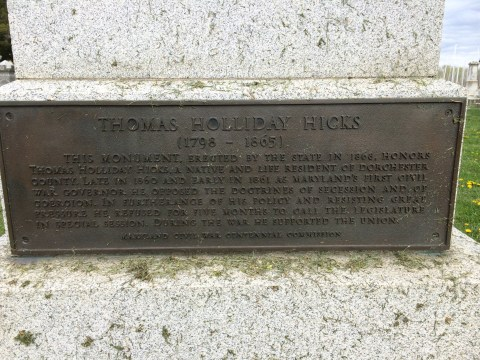 Detail of the plaque on Gov. Hick's monument.