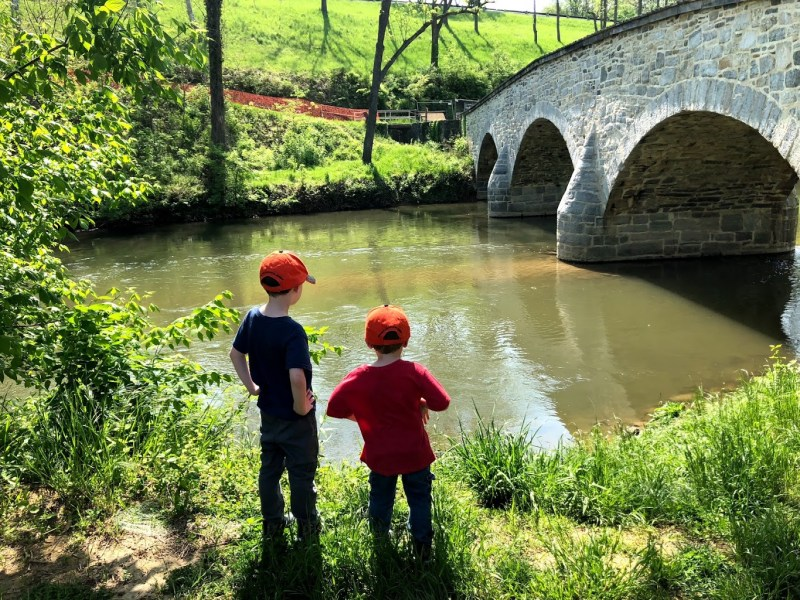 My boys on the banks of Antietam Creek, near the Burnside Bridge.