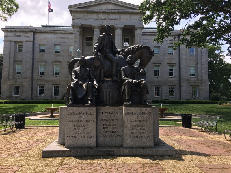 A monument to US Presidents from North Carolina: Andrew Johnson, James K. Polk, and Andrew Jackson (which is debatable). - <i>Photo by the Author</i>