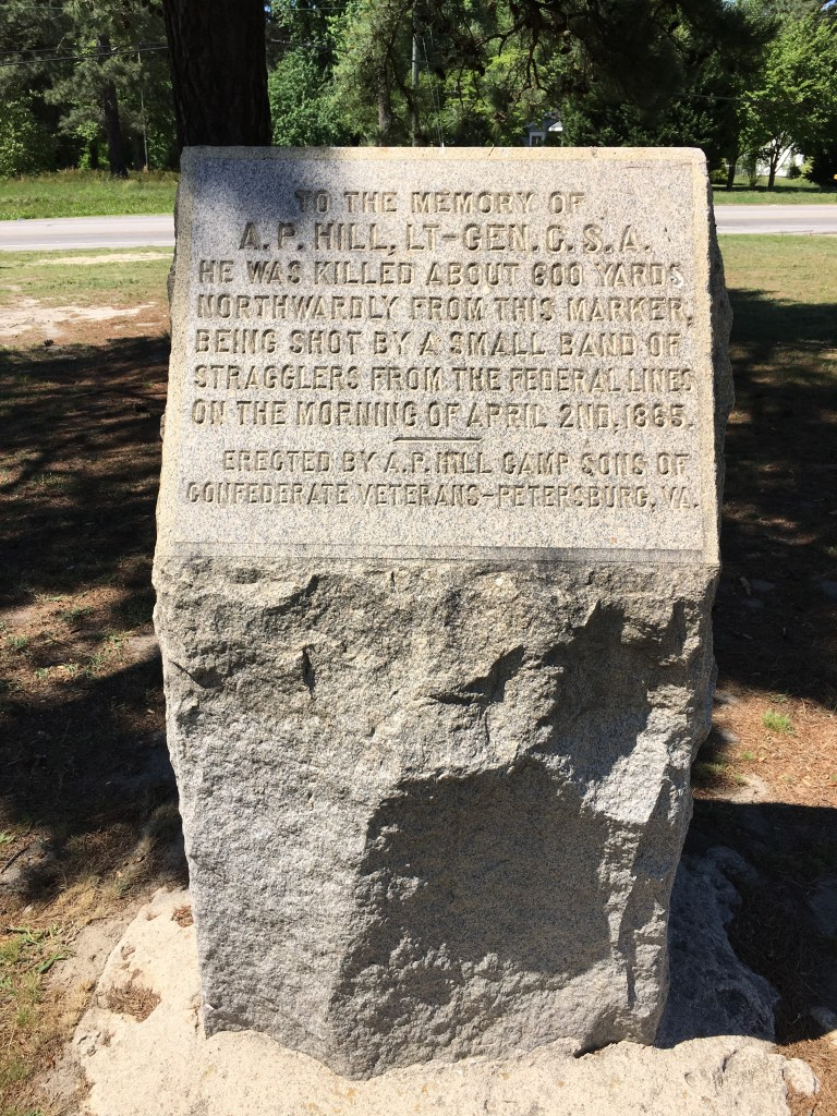 This monument marks the spot where Lt. General Ambrose Powell Hill was killed during the Third Battle of Petersburg - just a week before General Lee surrendered at Appomattox. - <i>Photo by the Author</i>