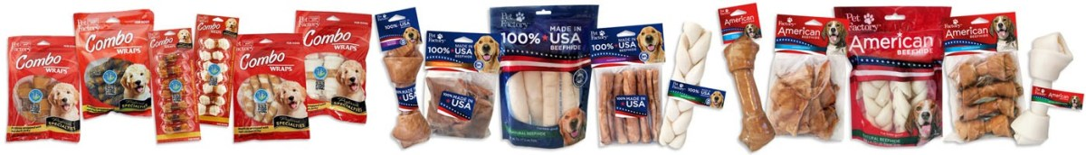 USA MAde Beefhide and Rawhide Treats for Dogs American Made Rawhide Bones