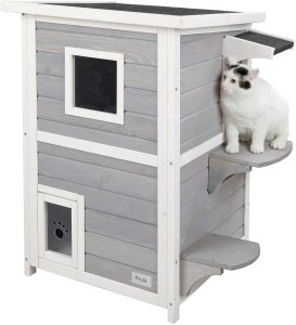 Petsfit 2-Storey Weatherproof Outdoor Kitty Cat House Condo Shelter with Escape Doo