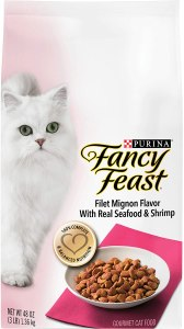 Purina Fancy Feast Dry Cat Food, Filet Mignon Flavor with Real Seafood & Shrimp