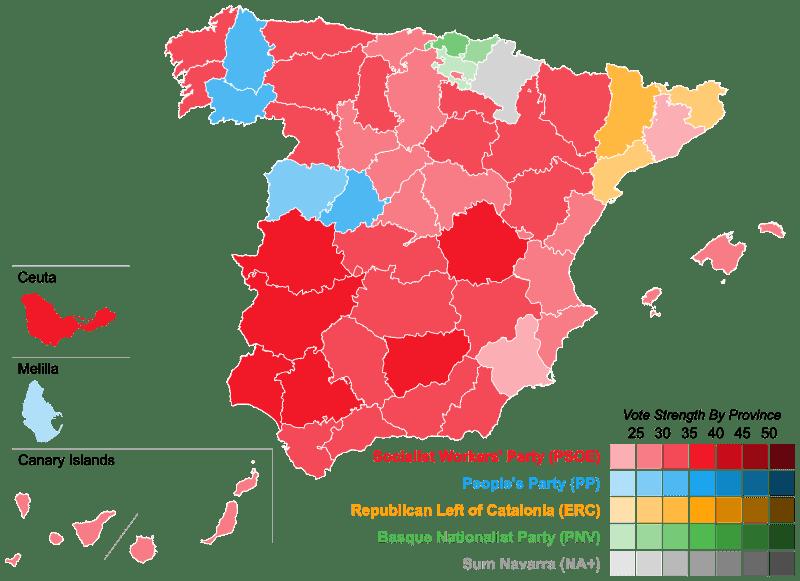 Mapa eleitoral das eleições gerais espanholas (Wikipedia)