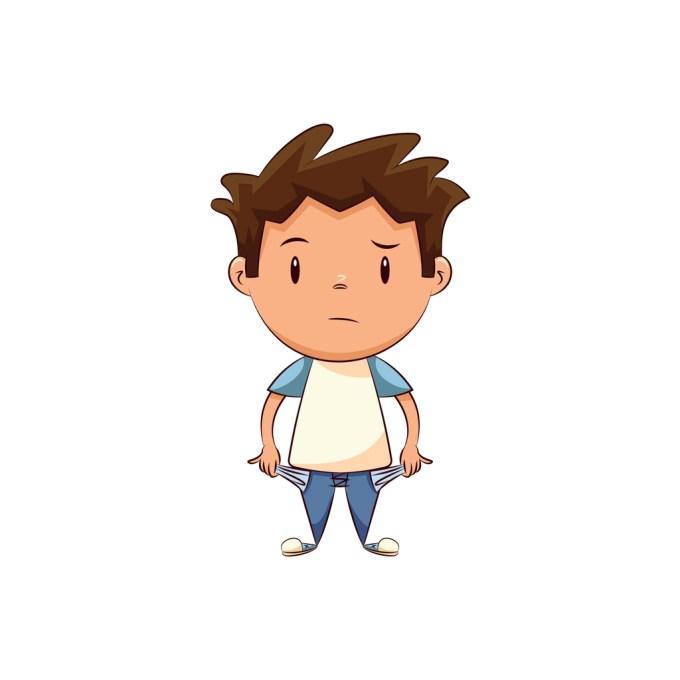 Enfant avec les poches vides