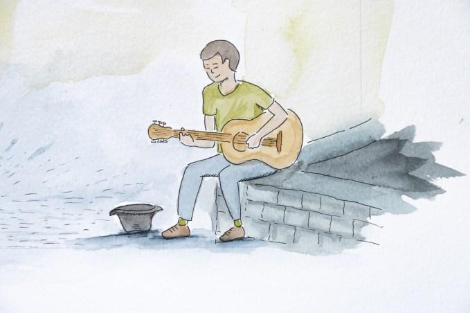 Aquarelle guitariste