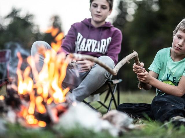 Dîner au feu de camp en pleine nature