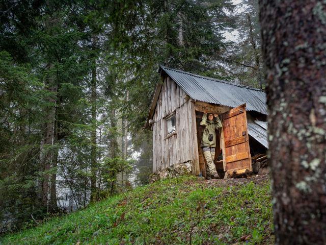 Dans une cabane en forêt sous la pluie