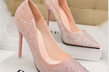 chaussure talon rose poudre mariage