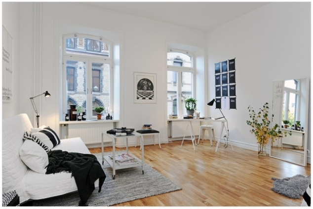 salon scandinave bois blanc pastel
