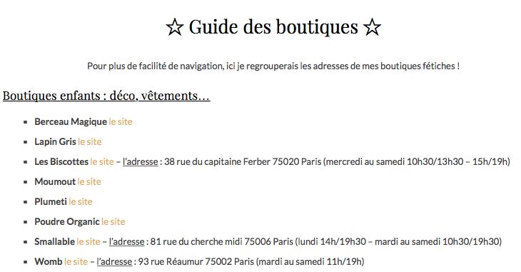 guide des boutiques