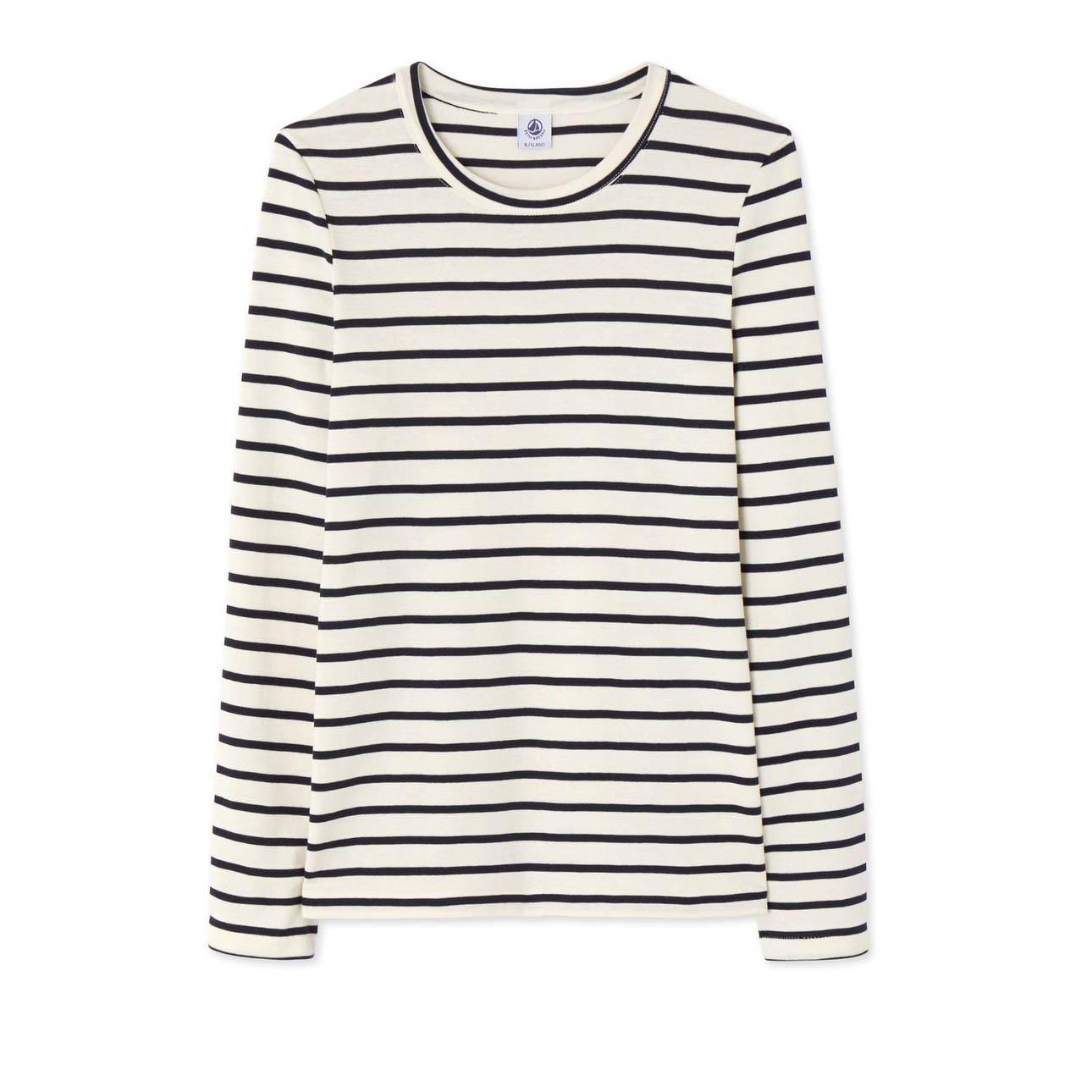 petit-bateau-t-shirt-femme-manches-longues-rayé-beige-soldes-la-redoute