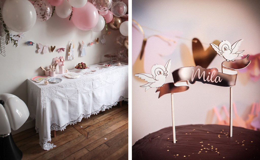 anniversaire-mila-4-ans-rose-caramelle-decoration-princesse-rose-gold-meri-meri-cake-topper-print-your-love-sur-mesure