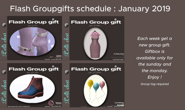 Weekly Flash GroupGift Schedule : January 2019 graphic