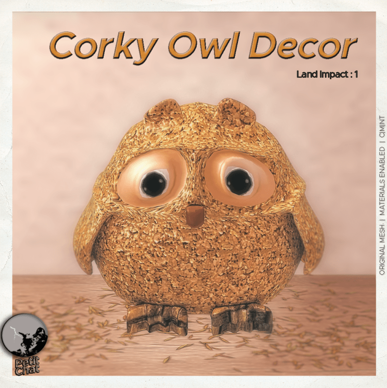 Corky owl decor poster : owl made of cork and wood