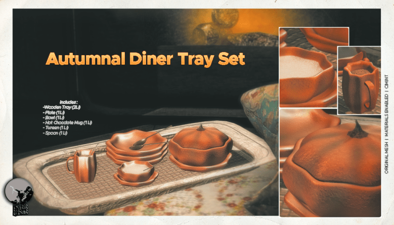 Autumnal Dinner set poster, showing wooden tray, plates, soup bowl, Tureen, mug with hot chocolate and spoons