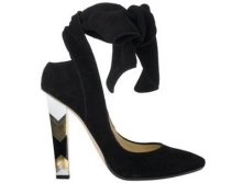 Jimmy Choo black suede 'Amos' court shoe with chevron heel675