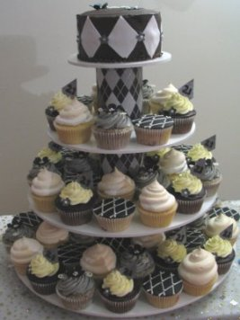 Black Silver 21st Cupcake Stand