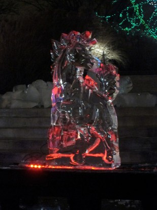 Another ice sculpture. Once each sculpture is complete, the sculptors place a colored light inside to illuminate them.