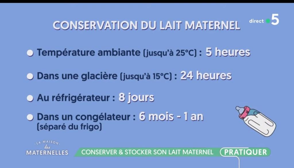 Durée de conservation du lait maternel