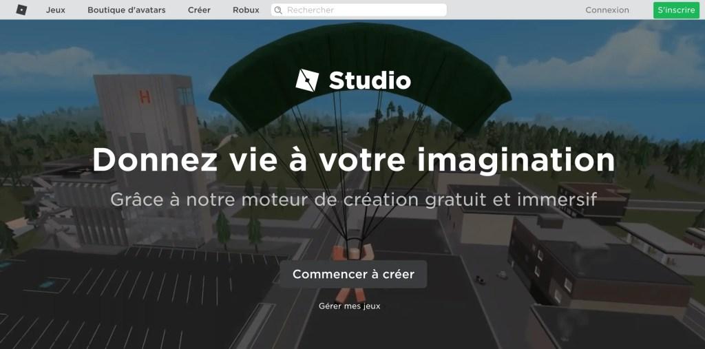 Accès au système de création de jeux à l'intérieur du jeu Roblox