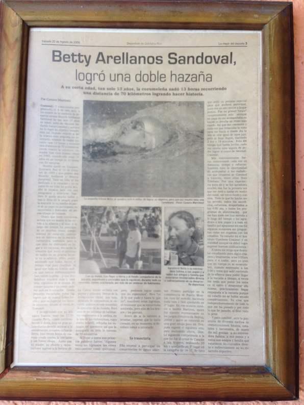 Article sur l'exploit tenté par Betty Arellanos Sandoval, la petite-fille de Sergio.