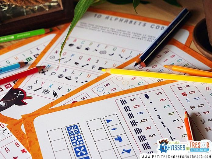 kits à imprimer d'alphabets codés