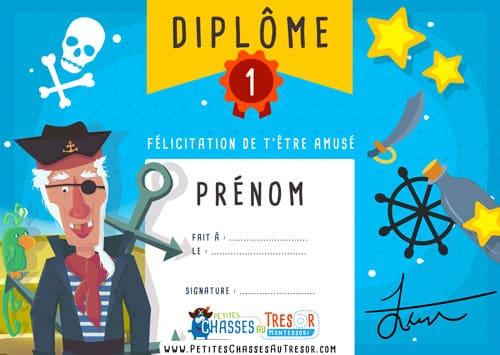 Diplome de pirate à imprimer