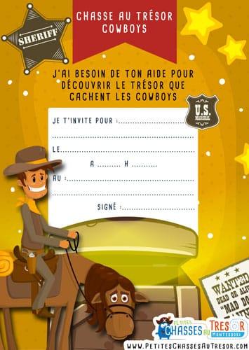 Invitation chasse au trésor de cowboy