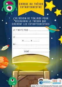 Invitation chasse au trésor de l'espace et les extraterrestres