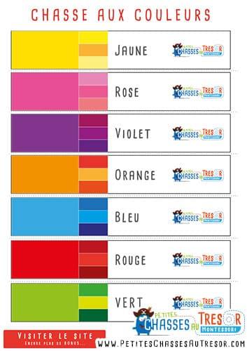 Les activités du Trésor pour enfant sur les couleurs