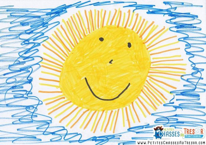 Coloriage de soleil réalisé par un petit enfant