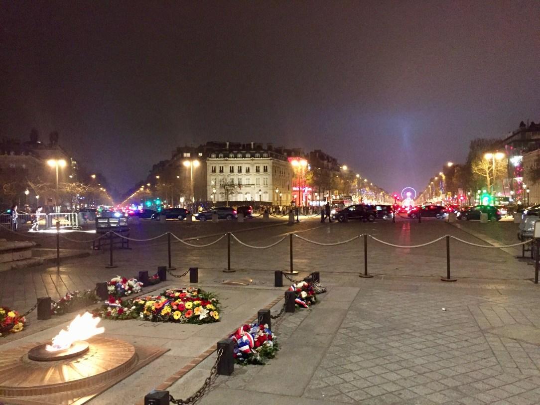 Under l'Arc de Triomphe, looking down the Champs-Elysées.