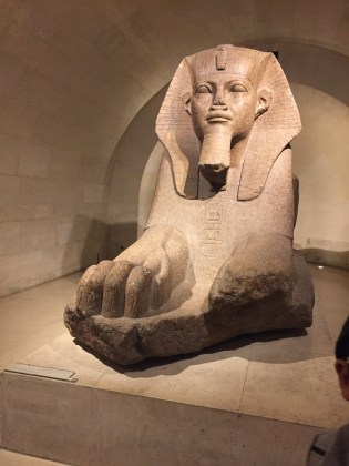 An Egyptian sphinx inside the ancient Egypt exhibit.