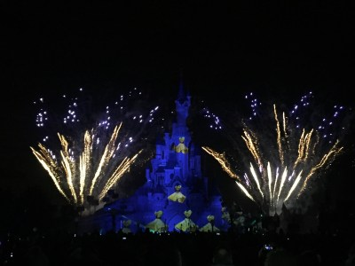 The evening fireworks show capitalized on powerful projectors using images and video to change the face of the castle.