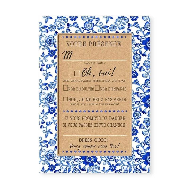 rsvp mariage motifs japonais bleu et blanc