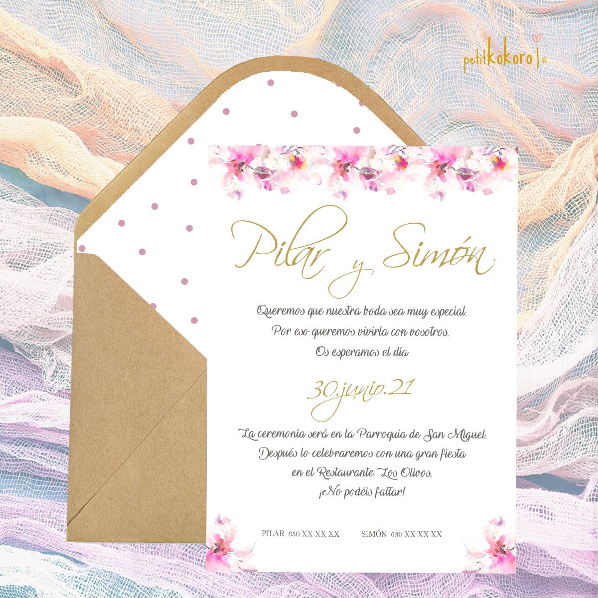 Invitación boda modelo Flor Campestre