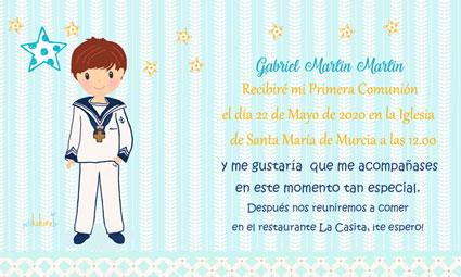 Invitaciones de comunión modelo Gabriel