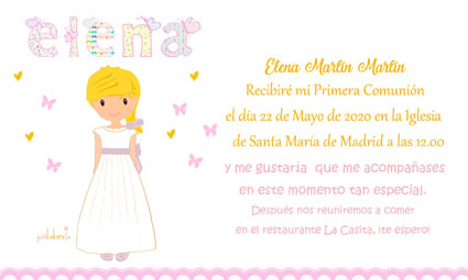 Invitaciones de comunión niña modelo Elena