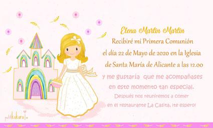 Invitaciones de comunión niña modelo Iglesia