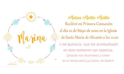 Invitaciones de comunión niña modelo Marina