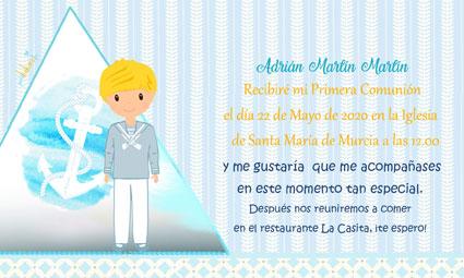 Invitaciones de comunión modelo barco Adrián