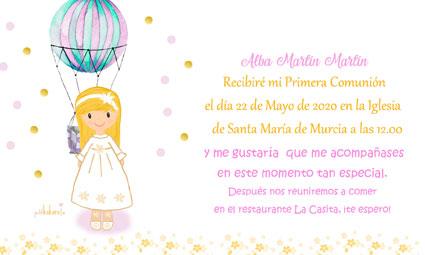 Invitaciones de comunión niña modelo Alba globo