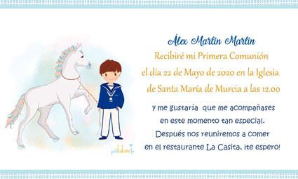 Invitaciones de comunión modelo Álex caballito