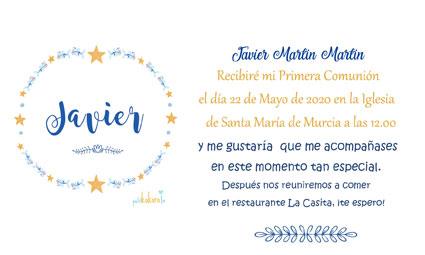 Invitaciones de comunión niña modelo orla Javier