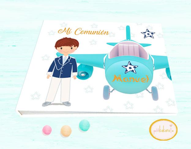 Libro de firmas comunión niño modelo avión