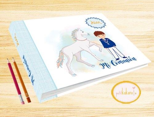 Libro de firmas comunión niño modelo caballito