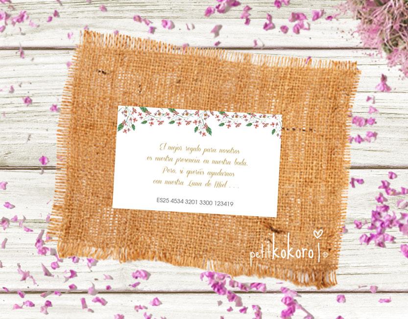 Tarjeta número cuenta boda modelo Greetings Petitkokoro