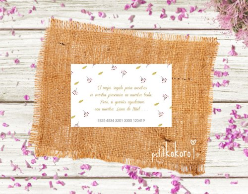 Tarjeta número cuenta boda modelo Orla Floral Acuarela Petitkokoro